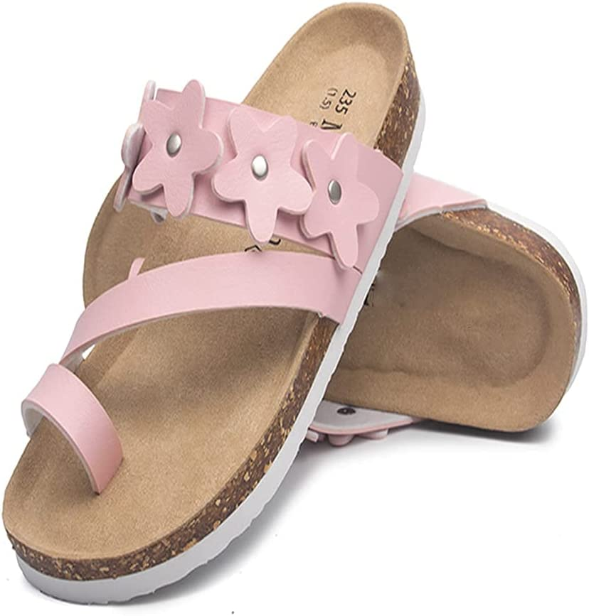 CHENGLONGTANG Slippers flip Flops Lazy Shoes Flower Clip Toe Beach Sandals Women Summer Cork Flip Flops Ladies Rivets Studs Sandals Woman Cork Sandals (Color : Pink, Size : 5 UK)