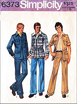 Simplicity 6373 Men s 70 s Leisure Suit Unlined Shirt-Jacket and Pants Vintage Sewing Pattern Check Listings for Size
