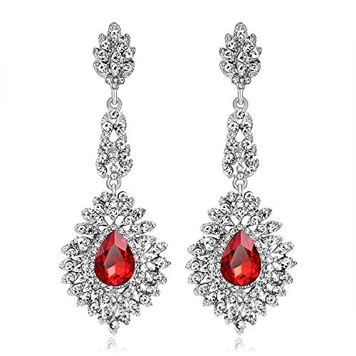 LIUBAOBEI Pendientes De Mujer Aro,Pendientes De Gota De Cristal De Lujo De Color Oro Blanco Rojo A La Moda Pendientes De Cristal Grandes De Boda para Novia Joyería De Mujer-Rojo