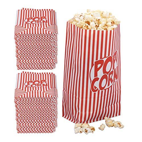 288x popcorn zakjes, papier, accessoire filmavond, kinderverjaardag, retro zakken voor popcorn, rood-wit