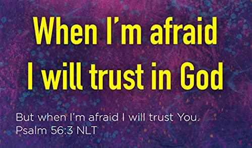 Children's Christian Pass Along Pocket Scripture Cards - When I'm Afraid I Trust in God | Psalm 56:3 | Pack of 25