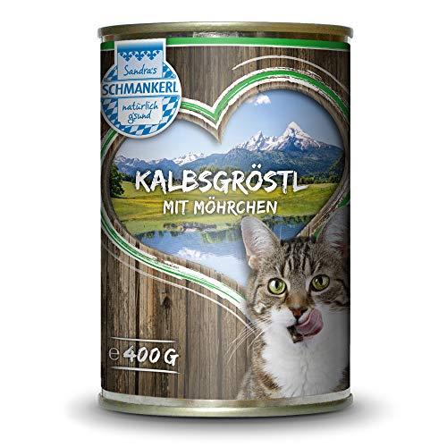 Sandras Schmankerl Nassfutter für Katzen Kalbsgröstl 6 x 400g. | getreidefrei | zuckerfrei | Monoprotein