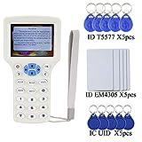 OBO HANDS Englisch RFID NFC Kopierer Leser Schriftsteller Duplizierer 10 Frequenz Programmierer mit Farbbildschirm + 5 Stücke EM4305 Karte + 5 Stücke T5577 Keyfob + 5 Stücke UID Keyfob