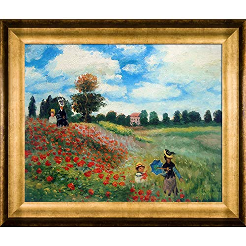 Hand-Painted Reproduction of Claude Monet Poppy Field in Argenteuil Framed Oil Painting, 16 x