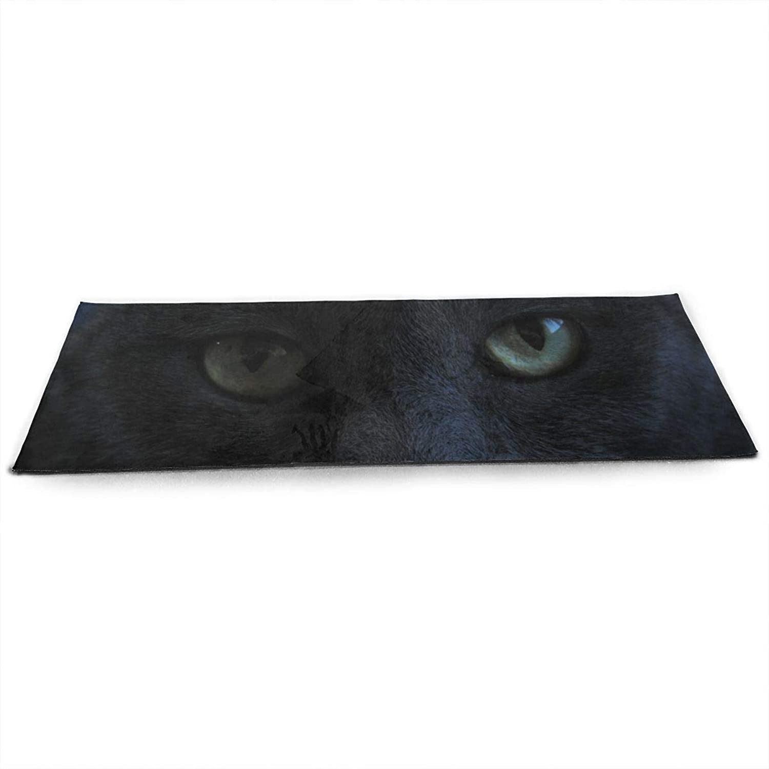 Halloween Black Cat Green Eyes Staring Whiskers ECO Aqua Power Kinematic Iyengar Kundini Hot Pilates Gymnastics Hatha Yoga Mat Exercise Mat