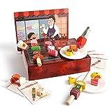 Yifuty Holzspielhaus Kinderküche Spielzeug Mädchen Simulation Grillgruppe Set 3-6 Jahre altes Baby Geburtstagsgeschenk 290 * 220mm