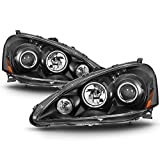 VIPMOTOZ LED Halo Ring Projector Headlight Assembly For 2005-2006 Acura RSX - Matte Black Housing, Driver and Passenger Side