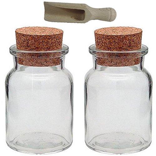 2 Gewürzgläser 150ml mit Kork-Verschluss Korkengläser, inkl. einer kleinen Holzschaufel