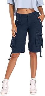 OCHENTA Women's Casual Cargo Shorts, Multi Pockets Cotton Bermuda Shorts