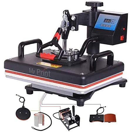 MY PRINT | Heat Press 5 in 1 Digital Multi Functional Sublimation, Vinyl Printing Machine for T-Shirts (Any Flat Product), Mug, Plate Heat Press Machine 12x15 Inch