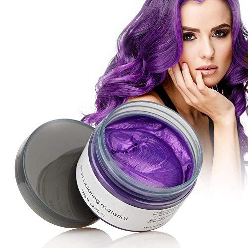 Temporäre Haarwachs Farbe, OCHILIMA Haarwachs Frisur Farbstoff Schlamm, natürliche Inhaltsstoffe Waschbare Haarstylingcreme für Männer Frauen Farbwachs 120g /4,23 Unzen (lila)