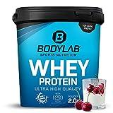 Protein-Pulver Bodylab24 Whey Protein Kirsche-Joghurt 2kg / Protein-Shake für Kraftsport und Fitness / Whey-Pulver kann den Muskelaufbau unterstützen / Eiweiss-Pulver mit 80% Eiweiß / Aspartamfrei