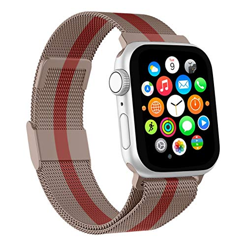 Mediatech Cinturino di ricambio compatibile con Apple Watch, 44 mm, 42 mm, 40 mm, 38 mm, in acciaio inox, con chiusura magnetica, compatibile con iWatch Series 6/5/4/3/2/1 SE (42 mm/44 mm, oro rosa)