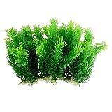 VusiElag Plantas acuáticas Artificiales, decoración de césped de Acuario plástico Verde Verde jardín Plantas de jardinería para Acuario Peces Tanque 10pcs