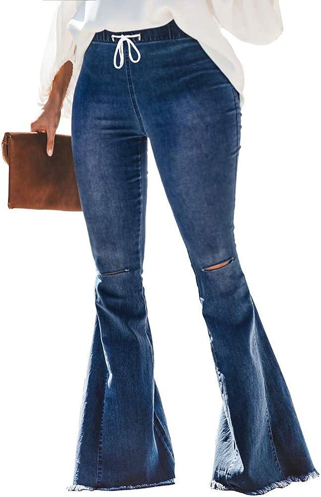ALLABREVE Women's Plus Size Ripped Flare Jeans Elastic High Waist Bell Bottom Denim Pants