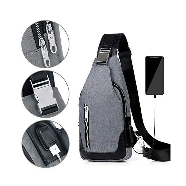 5149xBHDkqL. SS600  - FANDARE Bolsa de Pecho Hombres con Bolsos de Mano Bolsa Deportiva de Hombro Bolsa de Mochila con USB,para Acampada,Viaje…