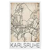 artboxONE Poster 30x20 cm Städte Retro Map of Karlsruhe