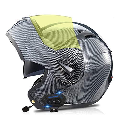 ABDOMINAL WHEEL Bluetooth Casco de Moto Modular Integrado con Doble Visera,Casco de Moto para Respuesta Automática ECE Homologado Casco de Motocicleta Adultos Unisex C,M=57~58cm