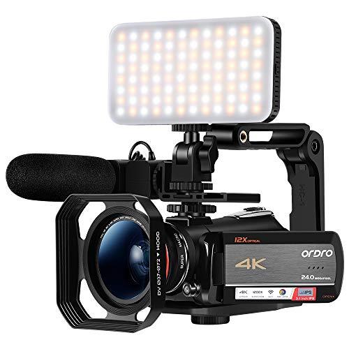 Videocámara ORDRO AC5 UHD con Zoom óptico 12x HD 1080P 60FPS Videocámara con cámara Digital WiFi con micrófono, luz de Video, Lente Gran Angular