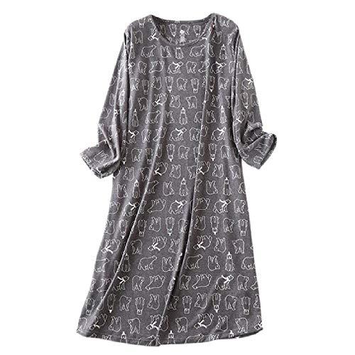 Camisón Suelto para Mujer, Tela Flexible, Segura y cómoda, Mangas largas, Estampado de Oso, camisón casero Suave