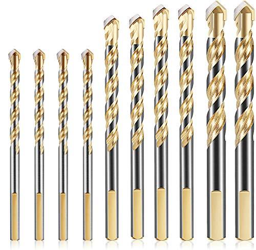 KAHEIGN 10 Piezas Brocas Para Mampostería, 6  8  10  12 mm Juego De Brocas De Carburo De Tungsteno Para Azulejos De Cerámica De Porcelana Vidrio De Pared De Ladrillo De Hormigón