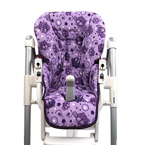 Housse de rechange de coussin de siège pour bébé Peg Perego Prima Pappa Diner - 7 motifs colorés de chouette - Neuf