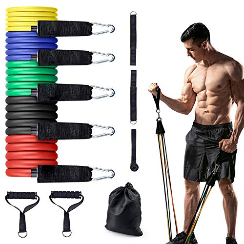 GIMTVTION Resistance Bands Set 11 Pack, Portable Home Gym Accessories Including 5 Stackable with Door Anchor, 2 Foam Handle, Ankle Straps for Resistance Training, Physical Therapy, Home Workout, Yoga