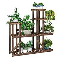 homfa supporto per piante supporto per fiori e piante e fiori,espositore per vasi da fiori a scala,scaffale porta-fiori legno verticale a a più piani per casa e giardino (medio)