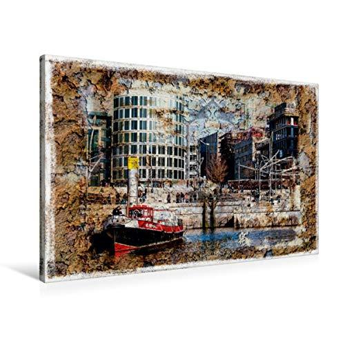 CALVENDO Premium Textil-Leinwand 90 cm x 60 cm quer, EIN Motiv aus dem Kalender Hamburg on The Wall | Wandbild, Bild auf Keilrahmen, Fertigbild auf echter Treppen in der Hafencity Orte Orte