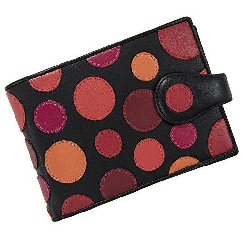 Visconti Genuine Leather P5 Polka Secure RFID Blocking Passport Travel Wallet (Very Berry)