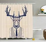 ABAKUHAUS Hipster Duschvorhang, Rentier Charismatische Brillen Krawatte, Moderner Digitaldruck mit 12 Haken auf Stoff Wasser & Bakterie Resistent, 175 x 200 cm, Champagner Dunkel Violettblau