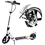 WINNINGO Kick Scooter for Adults Teens with Disc Brake, Easy-Folding System, 220lb Weight Capacity, 8' PU Wheels, Adjustable Height and Dual Shock-Absorbing (White)