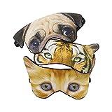 (Pack of 3) 3D Cat Dog Animal Sleep Eye Mask Night Shades for Sleeping Travel Home Office Funny Blindfold for Girls Kids Men Women
