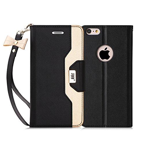 FYY Cover iPhone 6S Plus, Cover iPhone 6 Plus, Flip Custodia Portafoglio Libro Pelle PU con Lo Specchio Cosmetico e Porta Carte per iPhone 6 Plus/6S Plus-Nero