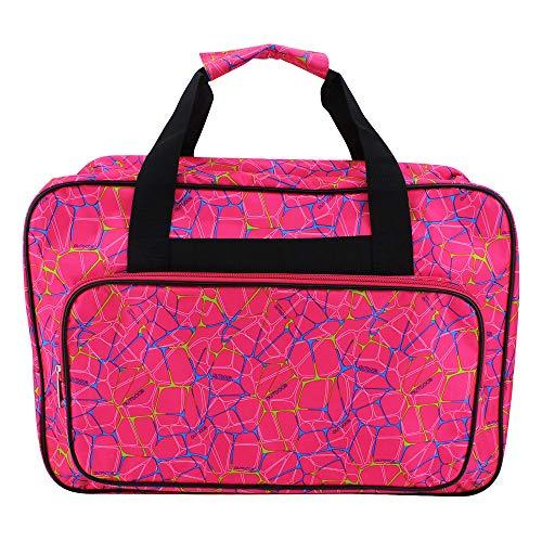 ShawFly Bolsa de la compra para máquina de coser, bolsa de deporte de gran capacidad, bolsa para máquina de coser doméstica, bolsa universal de nailon con bolsillos y asas (rojo, L)