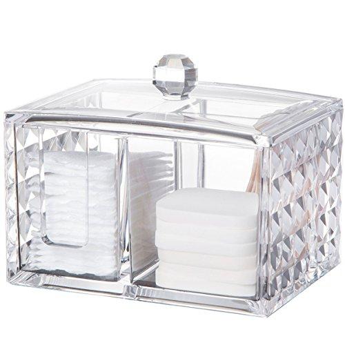 コスメボックス 綿棒収納ボックス アクリル製 ダイヤモンド模様 多功能 コスメ小物用品・化粧品収納ケース 透明 (正方形)