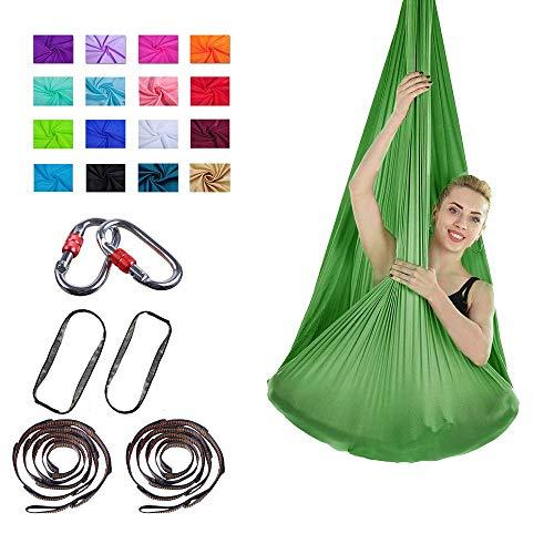 Viktion Authentische 4m*2.8m Anti-Gravity-Yoga Set Aerial Yoga Tuch Hängematte Keine Nähte Aerial Yoga Tuch (Baum Grün)