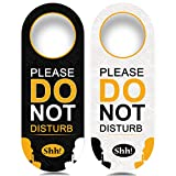 4 Pack Do Not Disturb Door Hanger Sign Funny, Meeting in Progress Door Sign PSLER Black and White Ideal for Therapy, Sleeping, Session in Progress,Spa Treatment, 8.86X3.35 inches PVC Hanging Sign