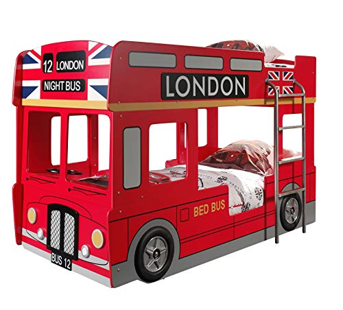 Vipack SCBBLB Autobett London Bus Etagenbett, Circa 215 x 132 x 100 cm, 2 Liegeflächen 90 x 200 cm, lackiert aufgedruckte London-Bus Optik, rot