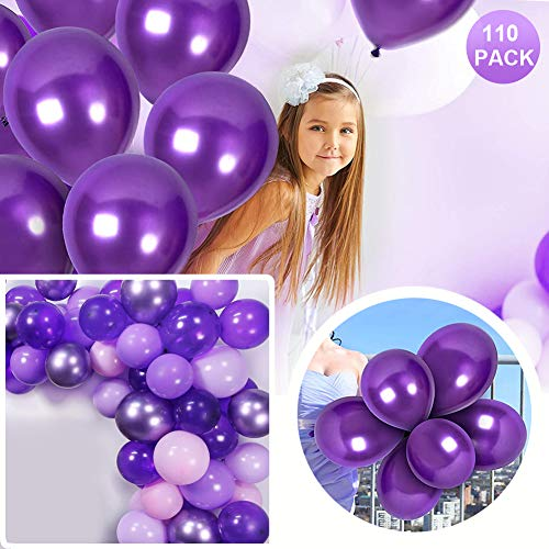 Sunshine smile Luftballons Lila,Luftballons Helium,latexballon,Ballon Dekoration,Luftballons für Geburtstag Hochzeit Party,110 Stück Luftballons(Lila)
