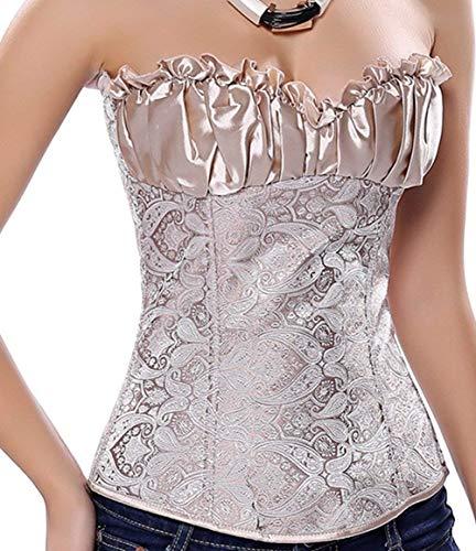 Corpiño Fiesta Damas Moda Joven Body Shaper Gothic Jacquard Mode De Marca Corset Blusa Corsage Lencería Elegante Retro Color Sólido Belly Away Body Shaping Bustier Corsage