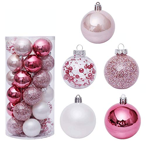 ZILINIU 60mm/30Pcs Pink Christmas Balls Shatterproof Christmas Tree Ball Decorative Hanging Baubles Set for Holiday Wedding Party Decoration