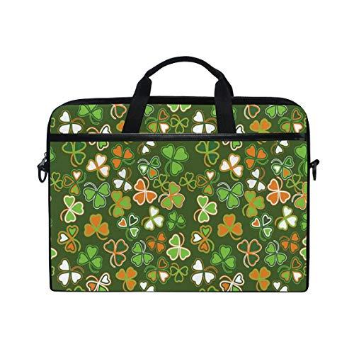 LOSNINA Laptop Tasche 15-15.4 Zoll,Natur Glücksklee Print,Neue Leinwand Drucken Muster Aktentasche Laptop Schulter Messenger Handtasche Case Sleeve