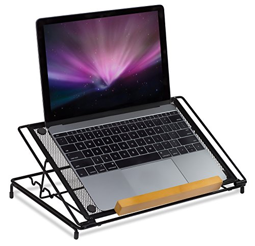 Mount-It! Mesh Laptop Stand - Ventilated Laptop Holder Desk Stand - Height Adjustable Laptop Riser - Metal Laptop Stand for MacBook, iPad and Tablets
