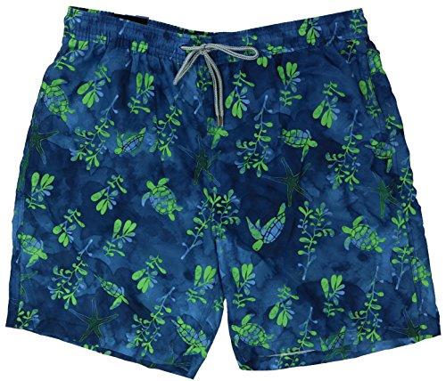Kirkland Signature Herren Badeanzug, Shorts, Badehose, Größe M, Blau/Grün Schildkröte
