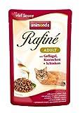 animonda Rafiné Adult Katzenfutter, Nassfutter für ausgewachsene Katzen, Frischebeutel, Herzhafte Vielfalt in Sauce, 4er Pack (4 x 12 x 100 g)