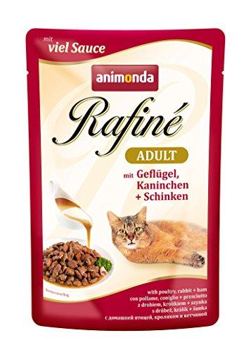 animonda Rafiné Adult Katzenfutter, Nassfutter für ausgewachsene Katzen, Frischebeutel, Herzhafte Vielfalt in Sauce, 4er Pack (4 x 12 x 100g)