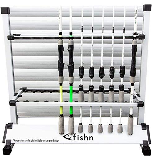 FISHN Asta di Supporto per 24 canne da Pesca in Alluminio di Alta qualità, portacanne, Porta Canna da Pesca - 72 x 70 x 30 cm… (Grigio)