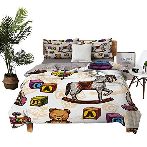 4 Bedding Cover Set Bed Sheets Queen Set Sheets Cotton Retro Style Kids Toys Rocking Horse Teddy Bear and Bird Illustration Print Brown and Grey Breathable Fabric W68 xL90