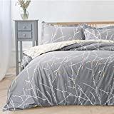 Bedsure Duvet Cover Set with Zipper Closure-Grey/Ivory Printed...